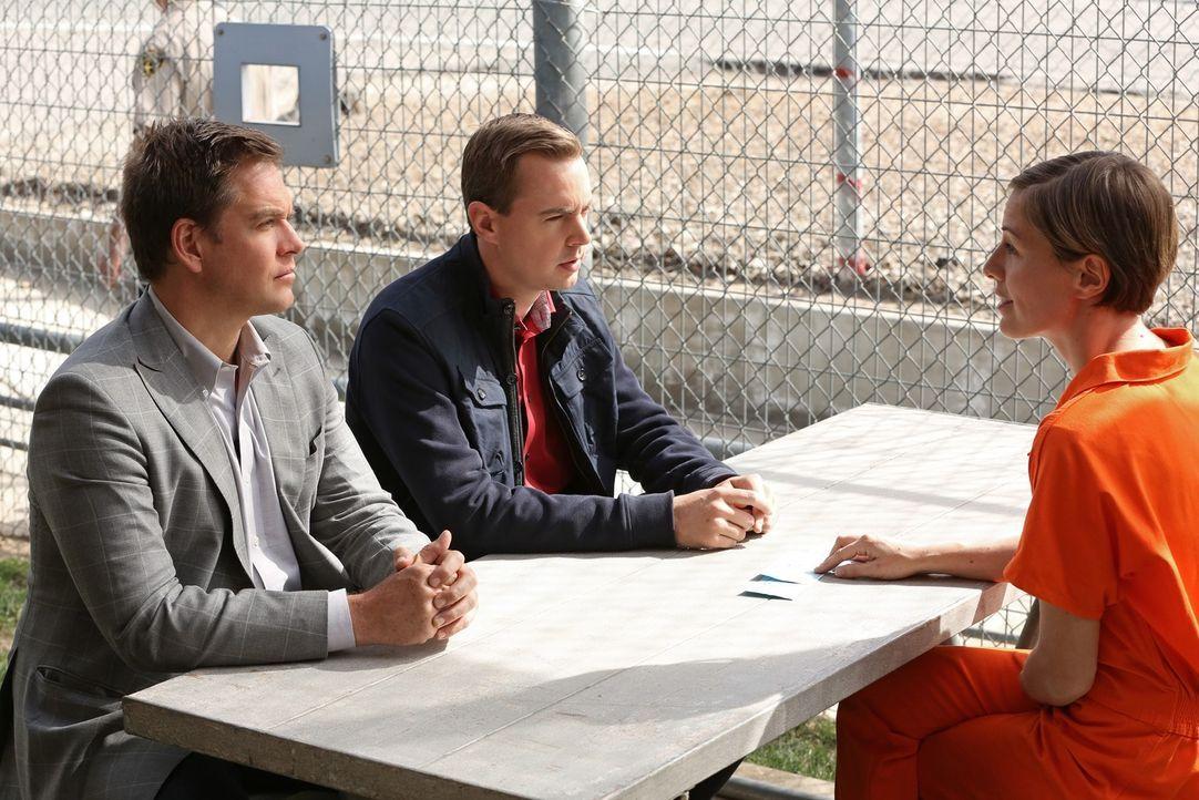 Kommen DiNozzo (Michael Weatherly, l.) und McGee (Sean Murray, M.) im Gespräch mit Kim Troutman (Olesya Rulin, r.) weiter? - Bildquelle: CBS Television