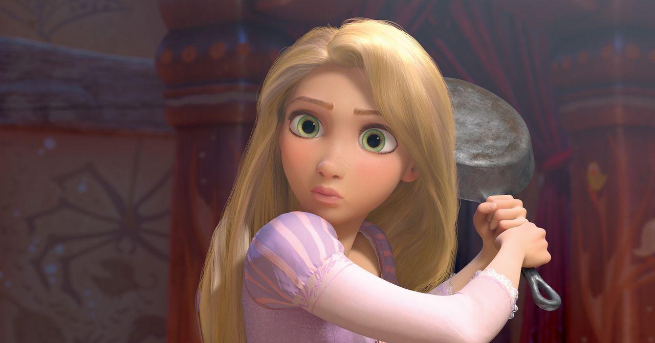 Die schöne Rapunzel weiß sich zu helfen, als ein Eindringling plötzlich in ihrem Turm steht. Aber vielleicht kann der charmante Dieb ihr ja helfen,... - Bildquelle: Disney.  All rights reserved