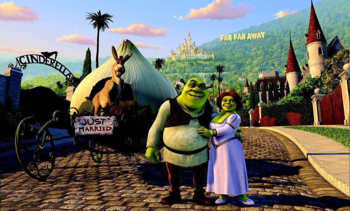 """Frisch verheiratet machen sich Shrek, l. und Fiona, r. auf, die königlichen Schwiegereltern im fernen Königreich """"Far Far Away"""" zu besuchen. Keine... - Bildquelle: DreamWorks SKG"""