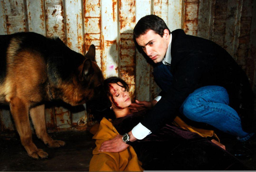 Kommissar Brandtner (Gedeon Burkhard, r.) und Rex finden Ines Kraus (Iris Junik, l.), die Schwiegertochter des Opfers, verletzt in einem Container. - Bildquelle: Sat.1