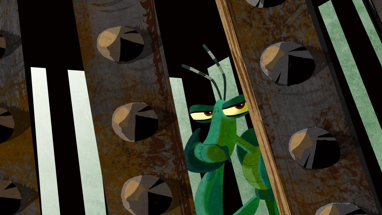 Werden ihn seine Freunde aus der Falle rechtzeitig befreien können? Mantis hofft, dass bald Hilfe naht ... - Bildquelle: 2008 DREAMWORKS ANIMATION LLC. ALL RIGHTS RESERVED.