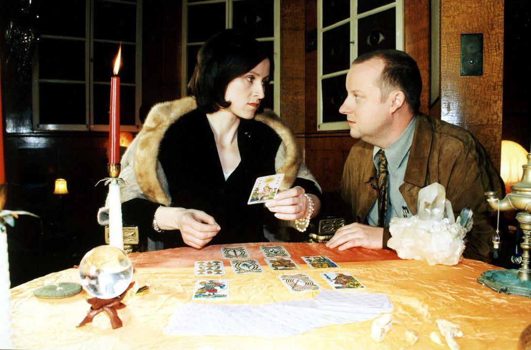 """Die Spur führt die Ermittler zu der Kartenlegerin Natascha Kaminski (Sophie Rois, l.). Fritz Kunz (Martin Weinek, r.) recherchiert bei ihr """"underco... - Bildquelle: Sat.1"""
