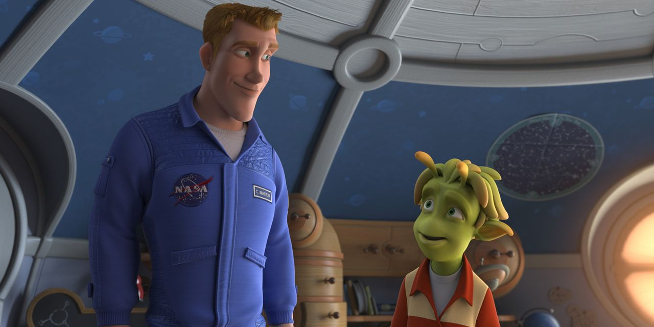 """Der Astronaut Captain Charles """"Chuck"""" Baker (l.) glaubt, er wäre der erste Mensch, der einen Fuß auf den Planeten 51 setzt. Doch zu seiner Überra... - Bildquelle: 2009 Columbia TriStar Marketing Group, Inc.  All Rights Reserved."""