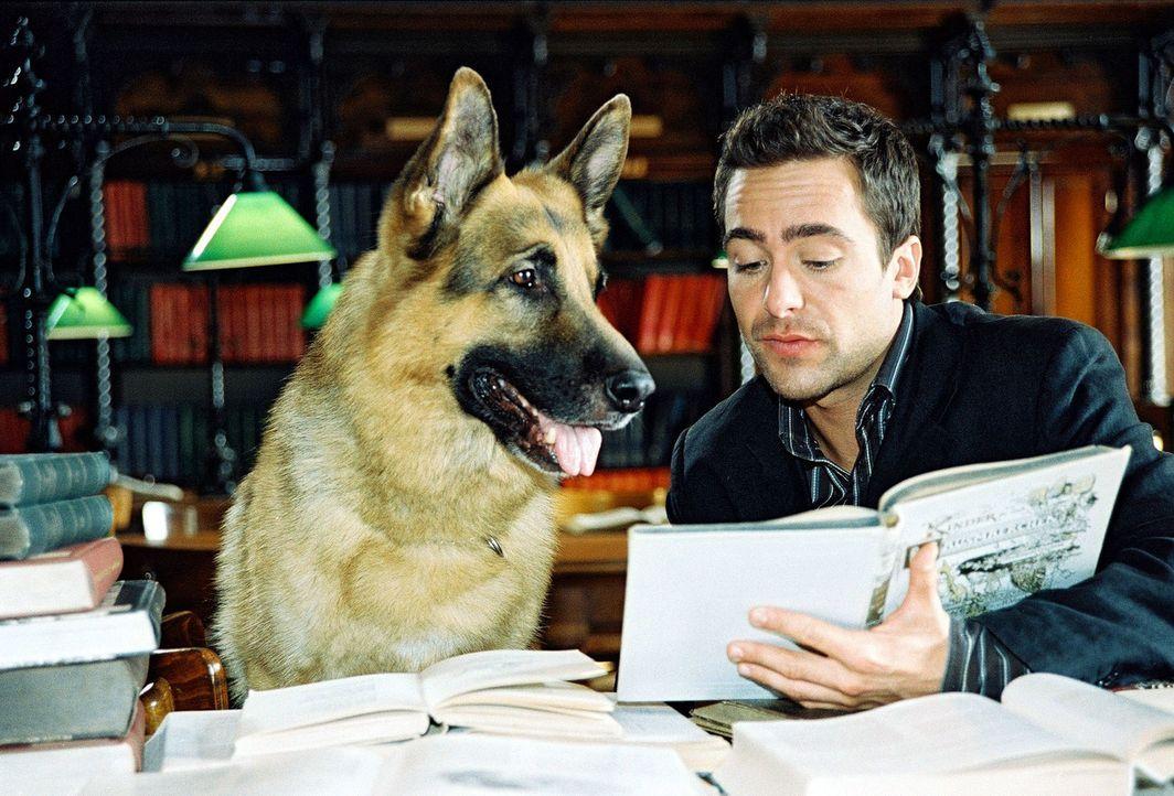 Marc (Alexander Pschill) und Rex ziehen in diesem ungewöhnlichen Fall Märchenbücher zu Rate. - Bildquelle: Sat.1
