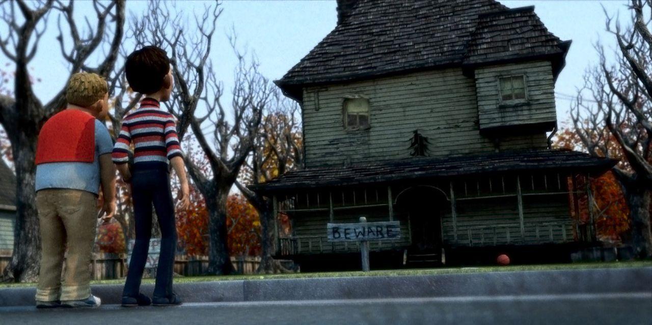 D. J. (r.) und sein Freund Chowder (l.) stehen ratlos vor dem Monsterhaus. Wie können sie es aufhalten? - Bildquelle: Sony Pictures Television International. All Rights Reserved.