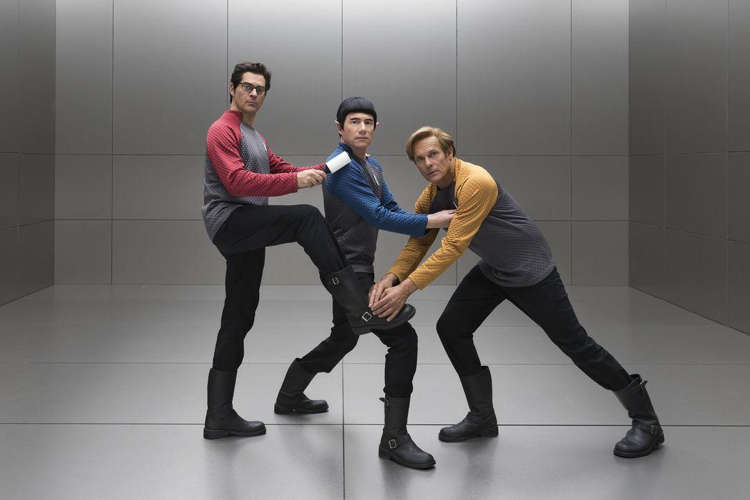 "(v.l.n.r.) Schrotty (Rick Kavanian); Mr. Spuck (Michael ""Bully"" Herbig); Captain Kork (Christian Tramitz) - Bildquelle: Marco Nagel Warner Bros."