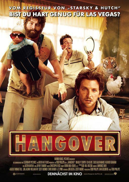 Hangover - Plakatmotiv - Bist du hart genug für Las Vegas? Alan (Zach Galifianakis, l.), Stu (Ed Helms, M.) und Phil (Bradley Cooper, r.) ... - Bildquelle: Warner Brothers