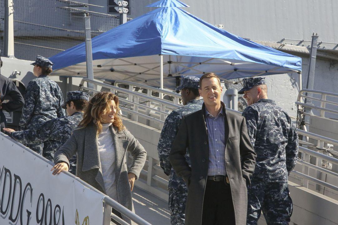 Als Quinn (Jennifer Esposito, l.) und McGee (Sean Murray, 2.v.r.) einen alten Fall neu aufrollen, machen sie an Bord der Marine eine äußerst mysteri... - Bildquelle: Patrick McElhenney 2016 CBS Broadcasting, Inc. All Rights Reserved