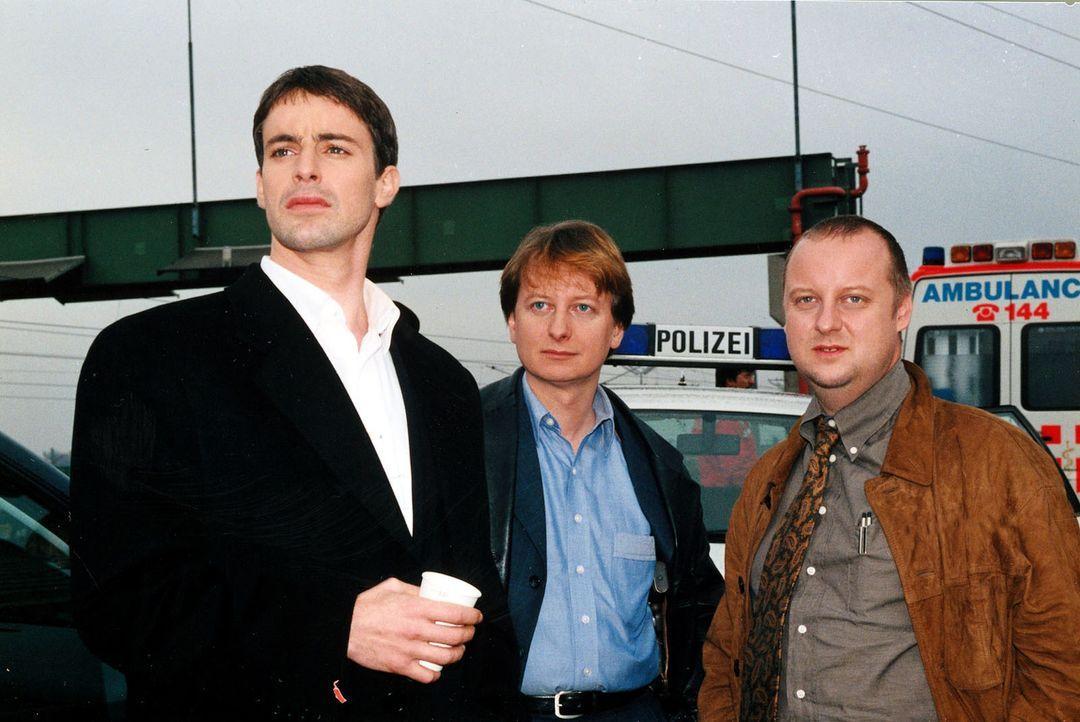 Kommissar Brandtner (Gedeon Burkhard, l.), Christian Böck (Heinz Weixelbraun, M.) und der neue Kollege Fritz Kunz (Martin Weinek, r.) beraten sich. - Bildquelle: Ali Schafler Sat.1