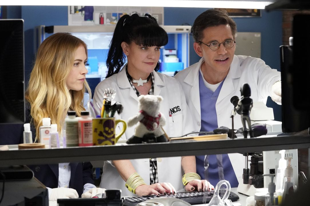 (v.l.n.r.) Bishop (Emily Wickersham); Abby (Pauley Perrette); Palmer (Brian Dietzen) - Bildquelle: Robert Voets 2018 CBS Broadcasting, Inc. All Rights Reserved/Robert Voets