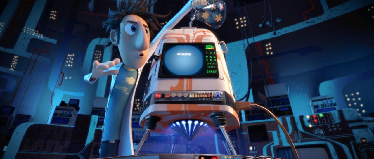 Flint Lockwood träumt seit seiner Kindheit davon, ein großer Erfinder zu werden. Nicht selten treibt er mit seinen skurrilen Ideen Eltern, Freunde... - Bildquelle: 2009 Sony Pictures Animation Inc. All Rights Reserved.