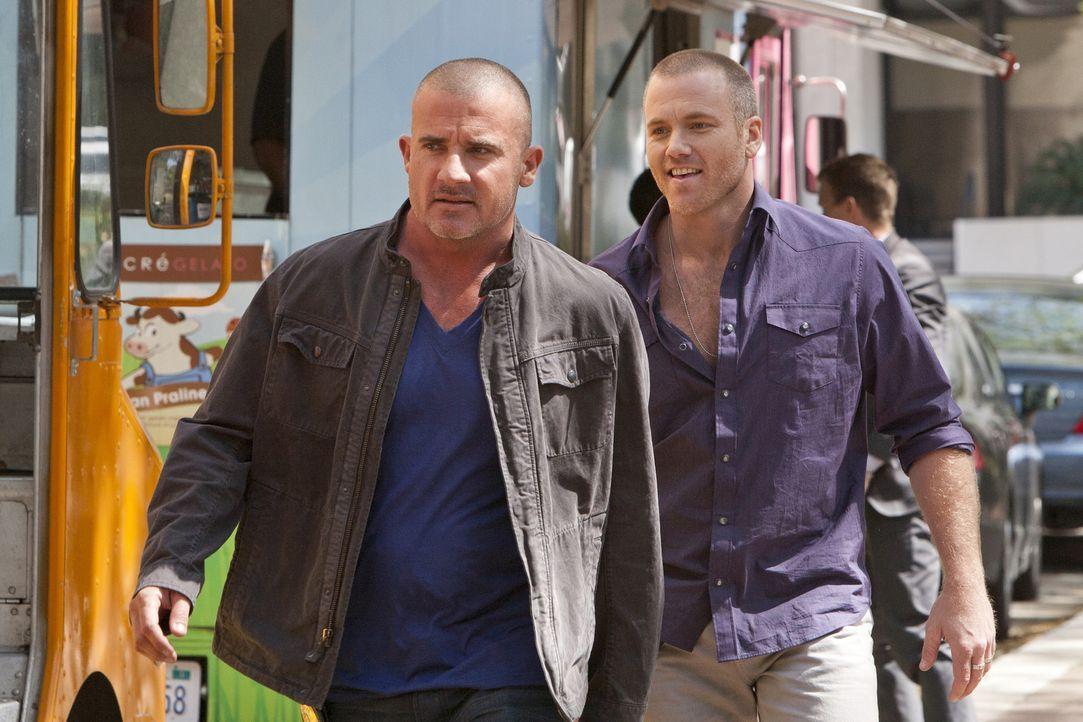 Während er Ermittlungen in einem Fall, stoßen Wes und Travis auf John Crowe (Dominic Purcell, l.) und Prince (Sean Carrigan, r.), alte Bekannte, a... - Bildquelle: USA Network
