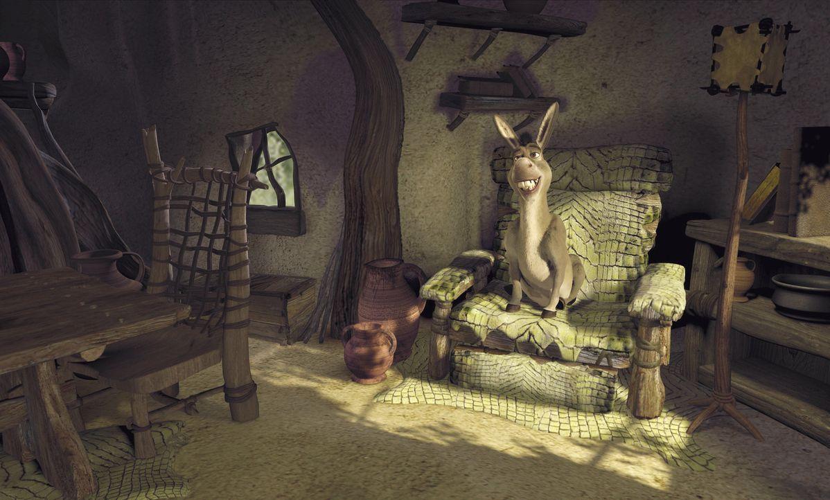 Er ist ja so froh, die Nacht in Shreks gemütlichem Haus verbringen zu dürfen. Ob sich der Esel da mal nicht zu früh freut ... - Bildquelle: TM &   2001 DreamWorks L.L.C.