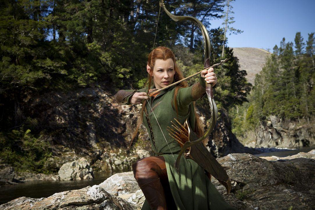 Tauriel (Evangeline Lilly), Waldelbin und Anführerin der Elbengarde, weiß, wie sie mit dem Bogen umgehen muss. Doch ist sie für Bilbo und seine Gefä... - Bildquelle: 2013 METRO-GOLDWYN-MAYER PICTURES INC. and WARNER BROS. ENTERTAINMENT INC.
