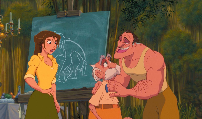 Eines Tages machen sich Professor Archimedes Porter, M. seine Tochter Jane, l. und ihr Jagdführer Clayton, r. in den Dschungel Afrikas auf, um das V... - Bildquelle: Edgar Rice Burroughs Inc. and Disney