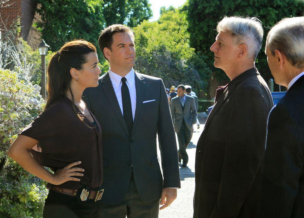 Nachdem das NCIS-Hauptquartier von Harper Dearings durch eine Bombe zerstört wurde, machen sich Gibbs (Mark Harmon, 2.v.r.), Ziva (Cote de Pablo, l.... - Bildquelle: CBS Television