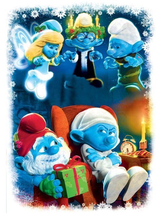 Crounchy Schlumpf (vorne l.) ist alles andere als begeistert von Weihnachten. Das will Papa Schlumpf (vorne r.) um jeden Preis ändern. In der Nacht... - Bildquelle: 2011 Sony Pictures Animation Inc. All Rights Reserved.