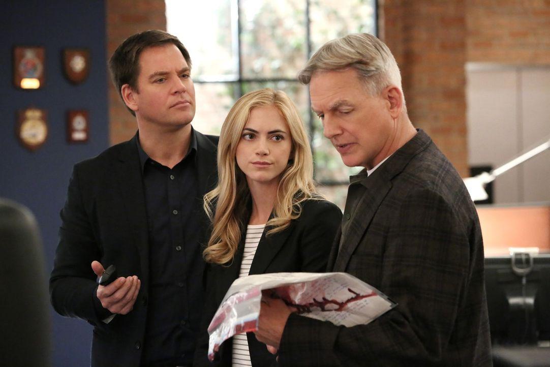 """DiNozzo (Michael Weatherly, l.), Eleanor Bishop (Emily Wickersham, M.) und Gibbs (Mark Harmon, r.) haben keine Ahnung, wo die gefälschten """"kugelsich... - Bildquelle: CBS Television"""