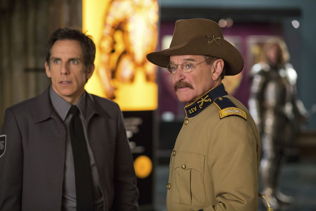 Nachts im Museum sind Larry (Ben Stiller, l.) und Teddy Roosevelt (Robin Williams, r.) ein unschlagbares Team, bevor sich Teddy bei Sonnenaufgang wi... - Bildquelle: 2014 Twentieth Century Fox Film Corporation.  All rights reserved.