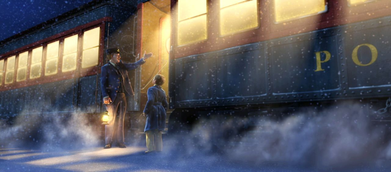 """Als der Junge (r.) den Schaffner (l.) fragt, wohin die Reise geht, sagt ihm dieser: """"Zum Nordpol natürlich, dies ist der Polarexpress!"""" - Bildquelle: Warner Bros. Pictures"""