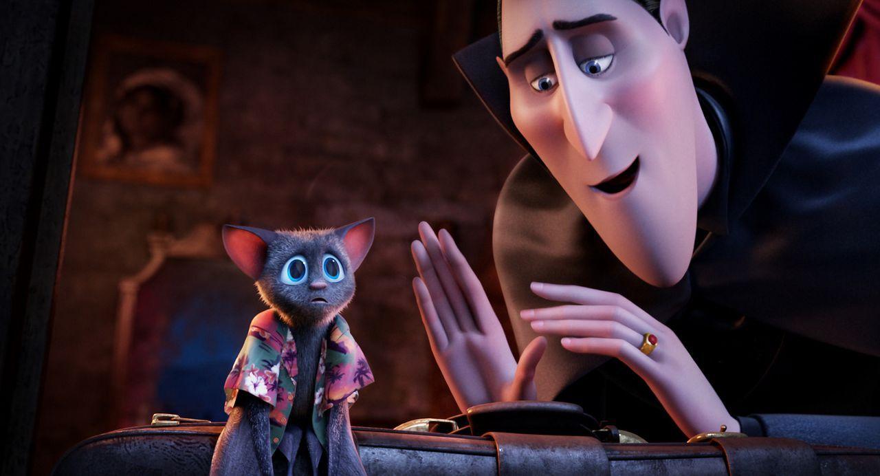 Graf Draculas (r.) Tochter Mavis (l.), die sich von Zeit zu Zeit in eine Fledermaus verwandelt, hat keine Lust, ihren 118. Geburtstag in den Mauern... - Bildquelle: 2012 Sony Pictures Animation Inc. All Rights Reserved.