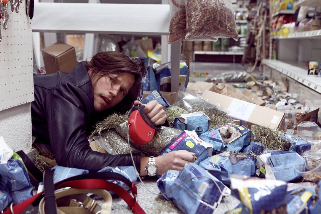 Mit Hundedame Lucky zieht das Chaos in Jans (Sebastian Ströbel) geordnetes Leben ein ... - Bildquelle: Vanessa Fuentes SAT.1