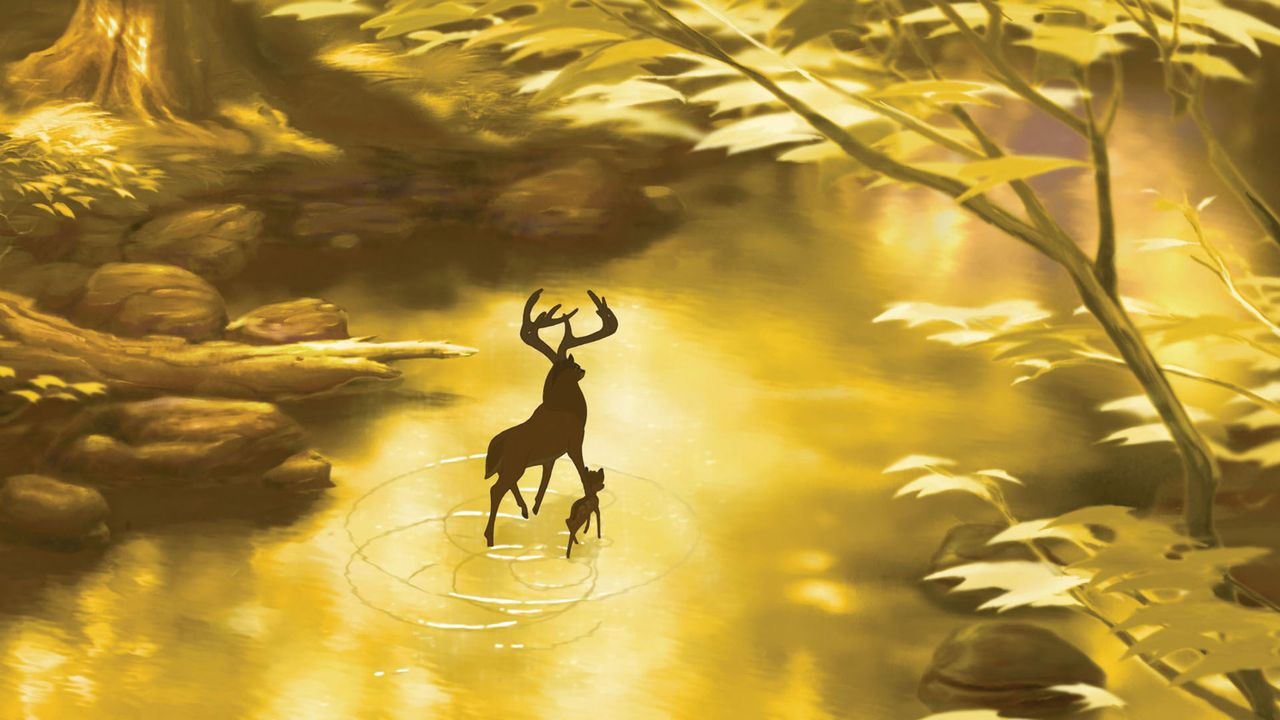 Bambi (r.) möchte seinem Vater (l.) beweisen, dass er mutig ist und ihn mit gewagten Aktionen beeindrucken. Gemeinsam mit seinen besten Freunden Kl... - Bildquelle: Disney  All rights reserved