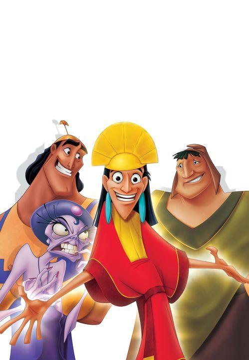 Aufgrund eines Fehlers von Kronk (hinten l.), dem einfältigen Assistenten von Yzma (vorne l.), wird König Kuzco (M.) in ein Lama verwandelt. Der g... - Bildquelle: Disney Enterprises Inc.