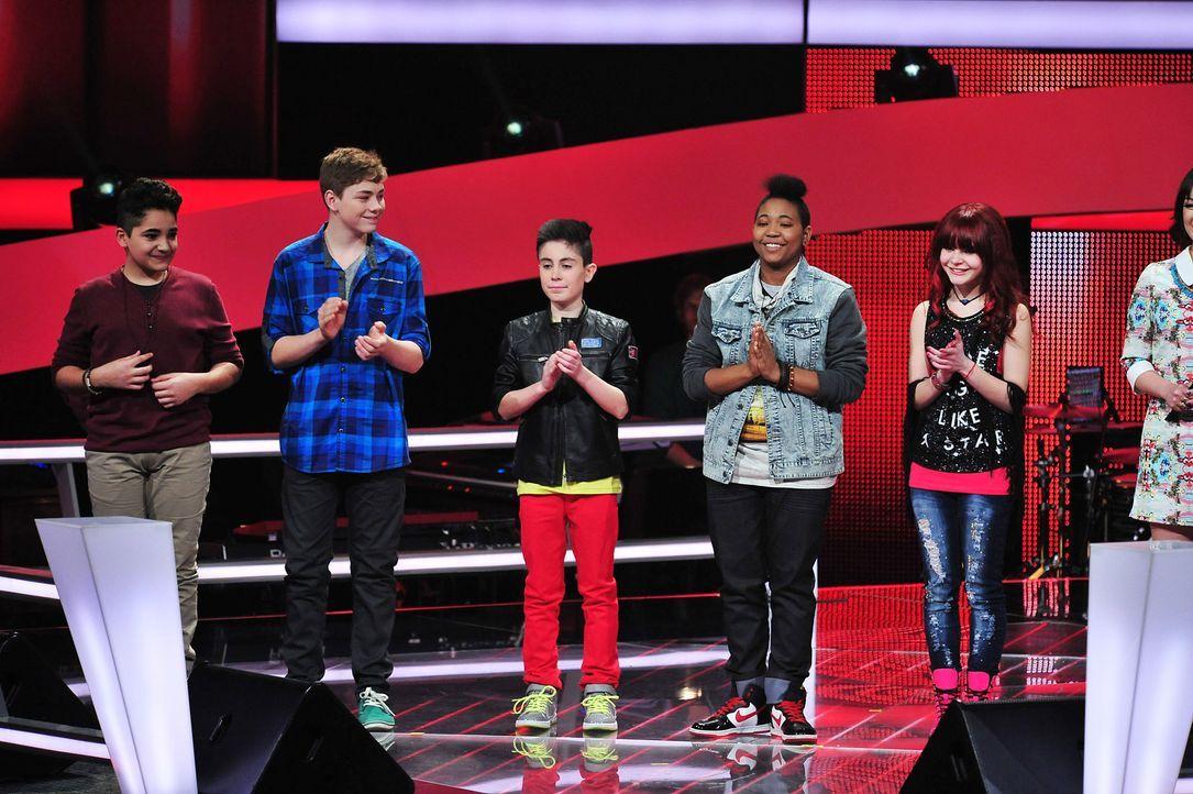 The-Voice-Kids-Stf02-Epi07-Carlotta-Jamica-Soufjan-Noah-Joel-2-SAT1-Andre-Kowalski - Bildquelle: SAT.1/Andre Kowalski
