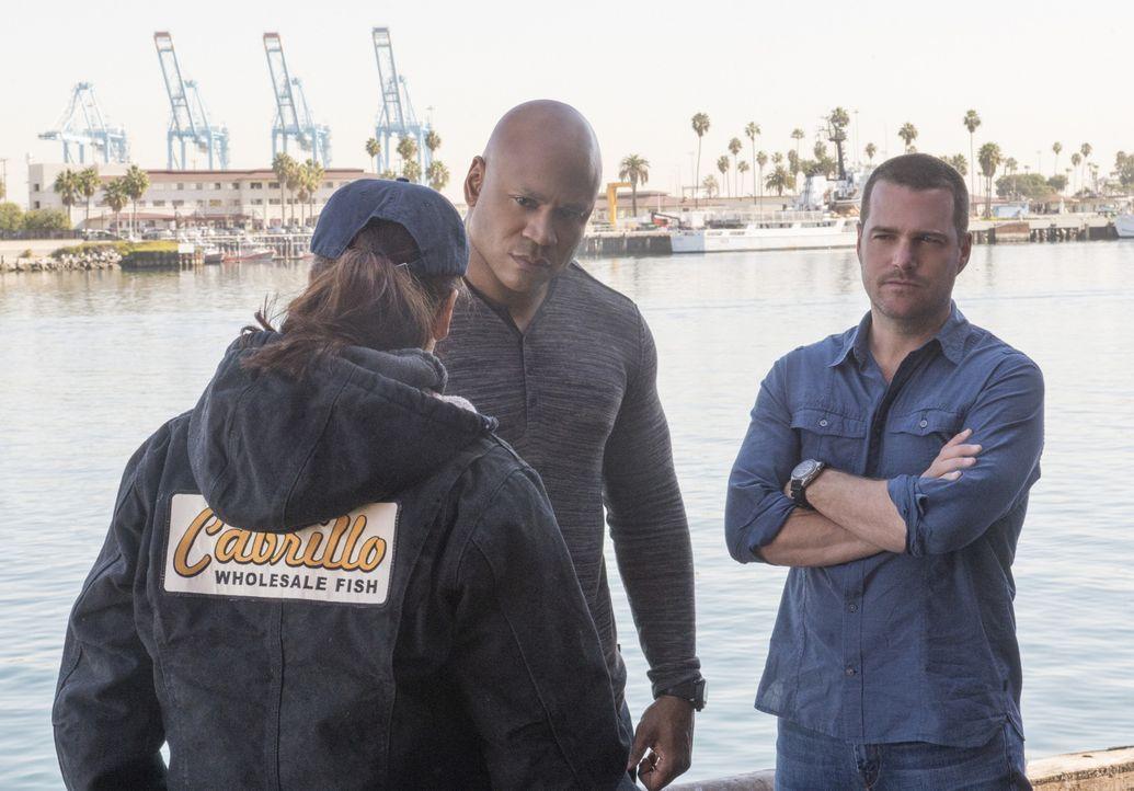 Nach einer Explosion auf dem örtlichen Fischmarkt schließt sich das Team unter Sam (LL Cool J, M.) und Callen (Chris O'Donnell, r.) mit der Undercov... - Bildquelle: CBS Studios Inc. All Rights Reserved.