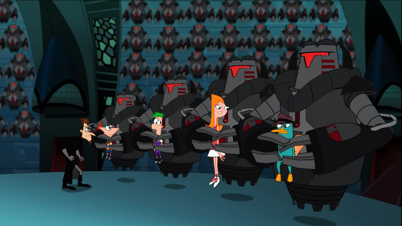 Phineas (2.v.l.), Ferb (M.), Candace (2.v.r.) und Perry (r.) fallen der Roboterarmee von Dr. Heinz Doofenschmirtz (l.) in die Hände ... - Bildquelle: Disney