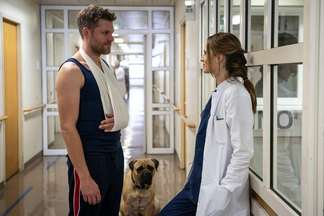 (v.l.n.r.) Elias Decker (Jens Atzorn); Rocky; Dr. Sarah Werneburg (Nora Huetz) - Bildquelle: Christoph Assmann SAT.1/Christoph Assmann
