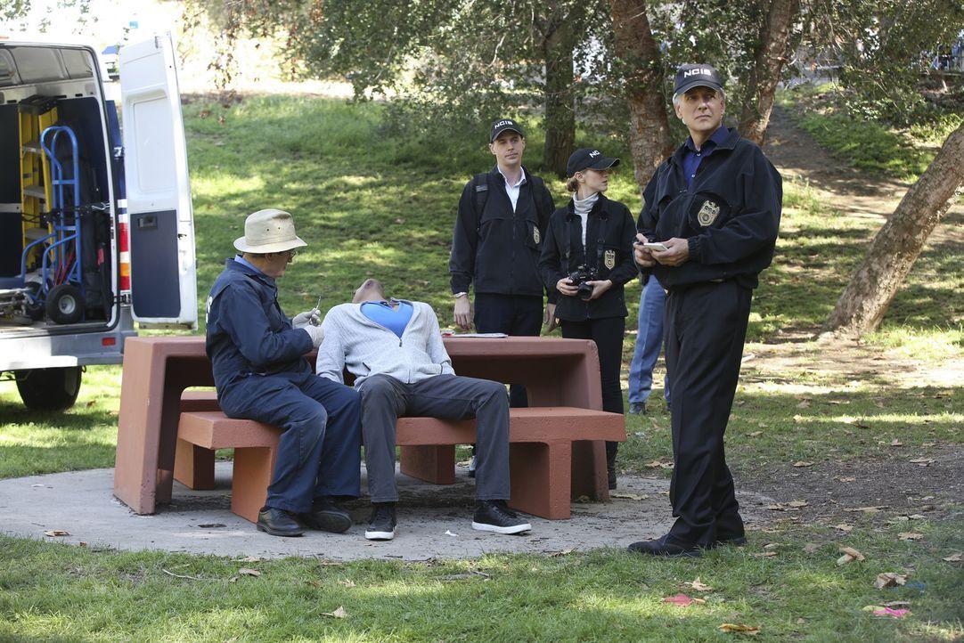 Als ein Unteroffizier ermordet wird, müssen Gibbs (Mark Harmon, r.), Ducky (David McCallum, l.), Bishop (Emily Wickersham, 2.v.r.) und McGee (Sean M... - Bildquelle: Monty Brinton CBS Television