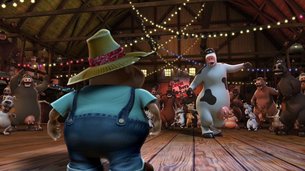 """""""Macht Platz für die wahren Party-Animals!"""" Nachts wird der Kuhstall zur Großraum-Disko umfunktioniert und dann tanzen Rindvieh Otis (r.) und seine... - Bildquelle: Paramount Pictures"""