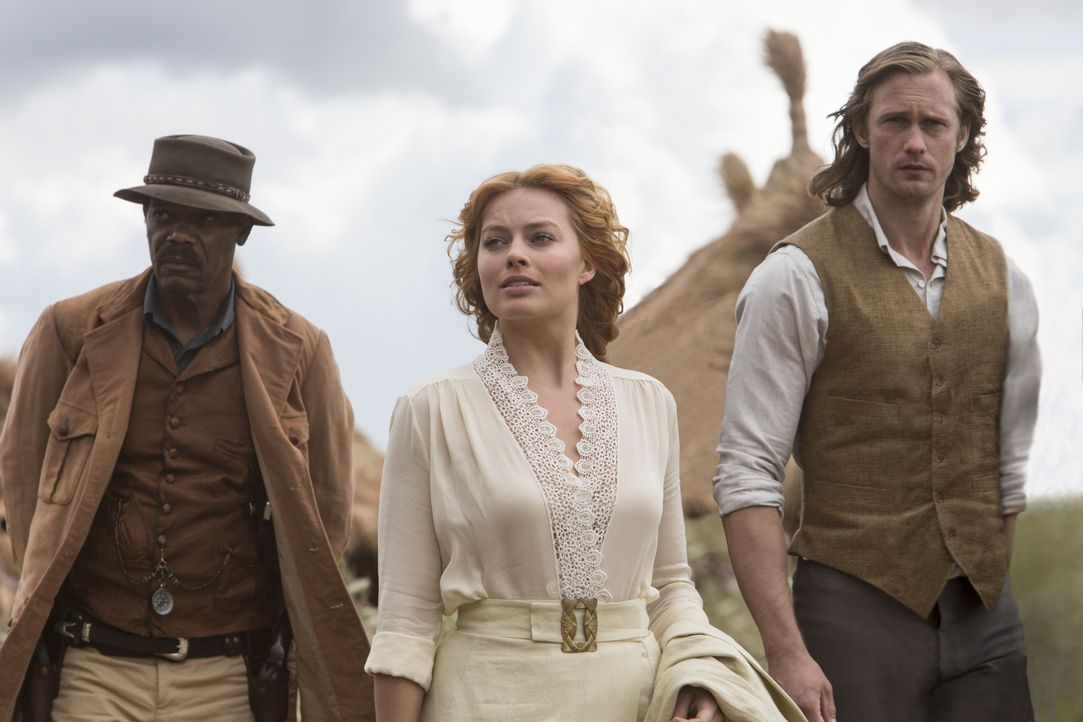 (v.l.n.r.) George Washington Williams (Samuel L. Jackson); Jane Porter (Margot Robbie); Tarzan (Alexander Skarsgård) - Bildquelle: Warner Bros.