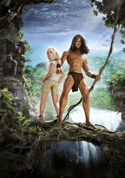 Die Liane fest im Griff, ist der muskulöse Tarzan wildentschlossen: Gemeinsam mit der hübschen Jane und seiner starken Affenfamilie scheint er im Ds... - Bildquelle: Constantin Film