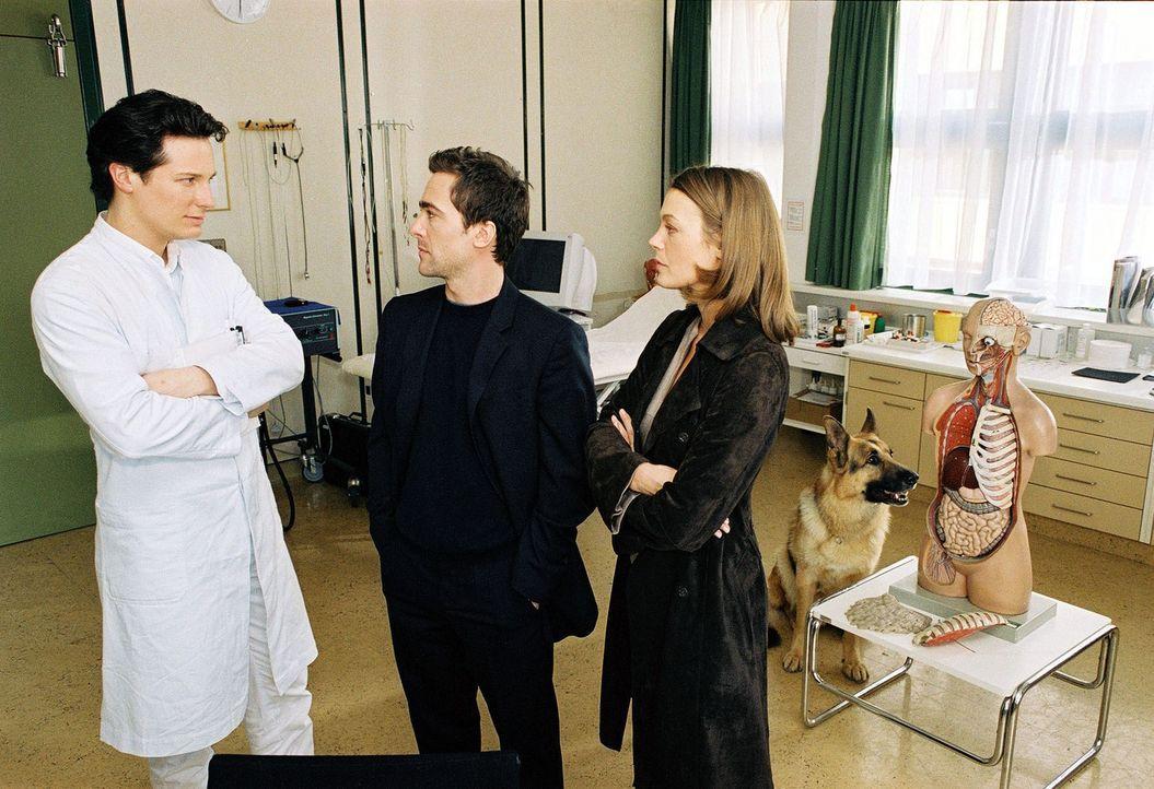 Dr. Meier (Max Urlacher, l.) wird im Spital von Marc Hoffmann (Alexander Pschill, M.) und Niki Herzog (Elke Winkens, r.) verhört ... - Bildquelle: Sat.1