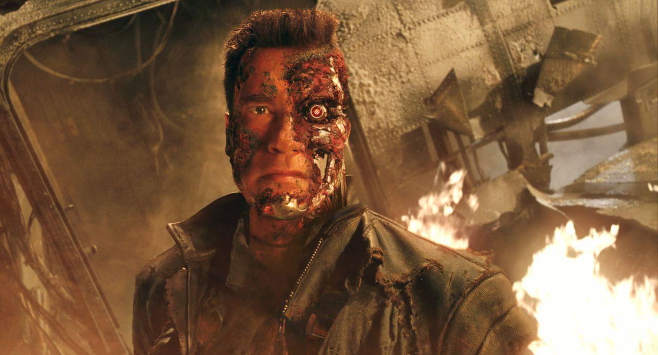 Das Schicksal der Menschheit liegt in der Hand einer Maschine: T-800 (Arnold Schwarzenegger) ... - Bildquelle: 2004 Sony Pictures Television International. All Rights Reserved.