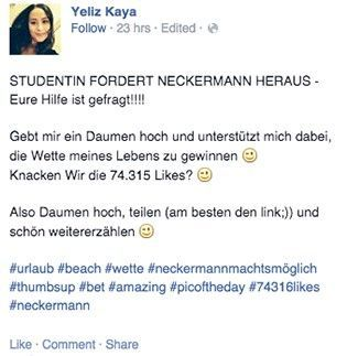 Facebook-Post über Neckermann-Wette