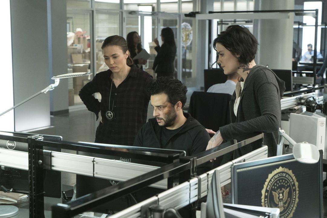 Können Ali (Trieste Kelly Dunn, l.) und Jane (Jaimie Alexander, r.) Rich Dotcom (Ennis Esmer, M.) trauen? - Bildquelle: Warner Brothers