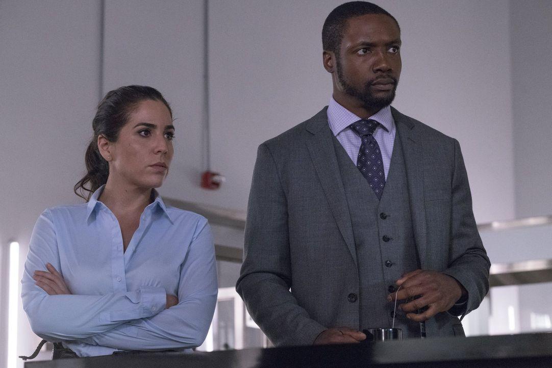 Tun so, als ob zwischen ihnen nichts geschehen sei: Zapata (Audrey Esparza, l.) und Reade (Rob Brown, r.) ... - Bildquelle: Warner Brothers