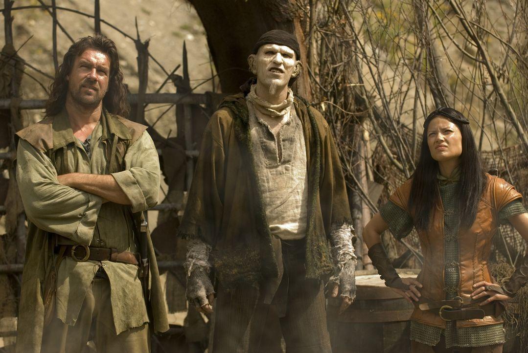 Die Bewohner von Mirabilis legen ihre ganze Hoffnung in die drei Krieger, die den Tyrann Dragon Eyer endlich unschädlich machen sollen: John Serrag... - Bildquelle: 2008 Dragonsteel Films Inc.