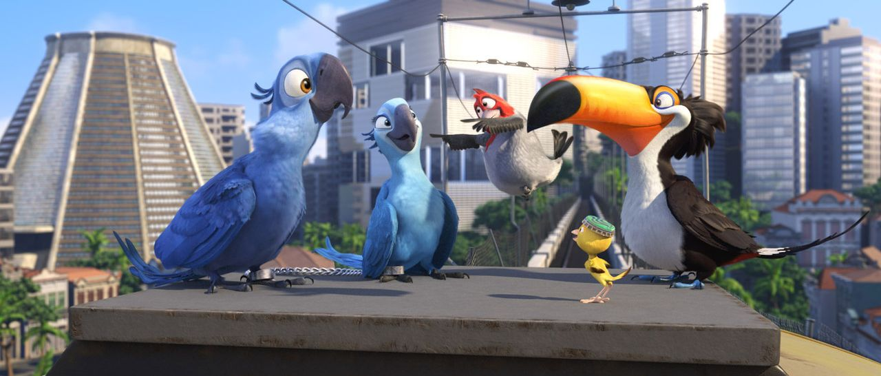 Gemeine Vogelhändler wollen die kostbaren Papageien Blue (l.) und Jewel (2.v.l.) einfangen. Und plötzlich finden sie sich gemeinsam mit ihren Freu... - Bildquelle: Blue Sky Studios 2011 Twentieth Century Fox Film Corporation. All rights reserved.