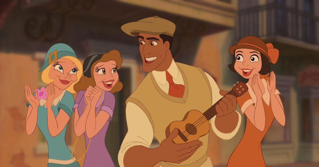 Als Mensch war Prinz Naveen (2.v.r.) ein echter Charmeur und Frauenheld, doch als er sich plötzlich in einen Frosch verwandelt, scheint sich niemand... - Bildquelle: Walt Disney Pictures.  All Rights Reserved.
