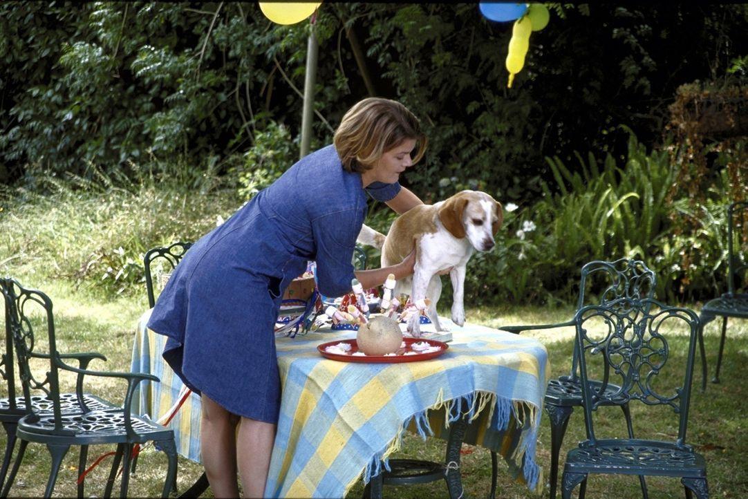 Verena (Birge Schade) ahnt nicht, dass der zugelaufene Beagle ihr Ehemann ist. Sie wähnt ihren verschwundenen Partner in den Händen einer jungen G... - Bildquelle: Boris Guderjahn ProSieben