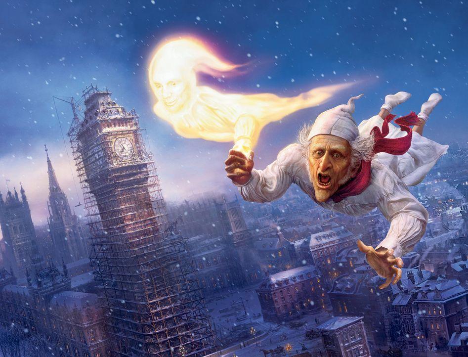 Das Weihnachtsfest ist für den eiskalten geizigen Geschäftsmann Ebenezer Scrooge (Jim Carrey) Qual. Doch an Heiligabend erscheint ihm sein alter,... - Bildquelle: Walt Disney Pictures/Imagemovers Digital, LLC.