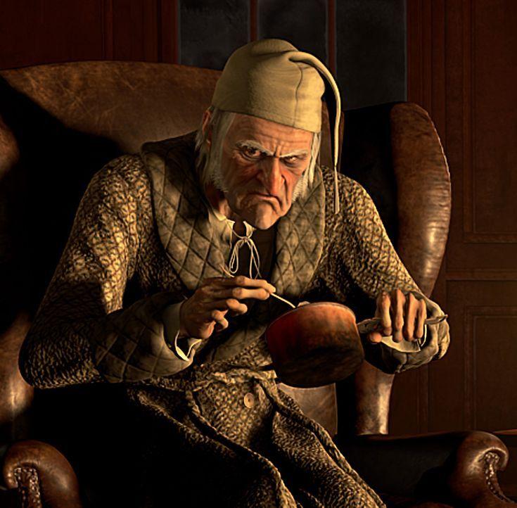 Ebenezer Scrooge (Jim Carrey) ist ein eiskalter, geiziger Geschäftsmann. Auch das anstehende Weihnachtsfest ist für ihn eher eine Qual. Doch an He... - Bildquelle: Walt Disney Pictures/Imagemovers Digital, LLC.