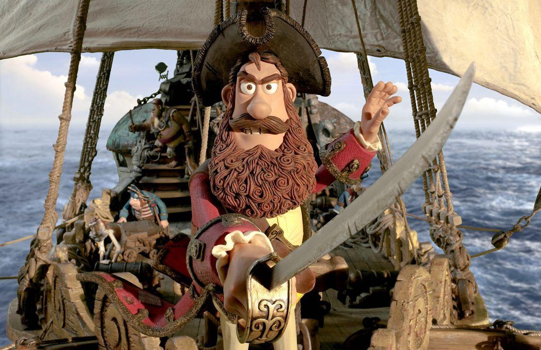 """Obwohl der Piratenkapitän nicht wirklich erfolgreich ist, als """"Schrecken der Weltmeere"""", verfolgt er seinen Traum - nämlich seine beiden Rivalen aus... - Bildquelle: 2012 Sony Pictures Animation Inc. All Rights Reserved."""