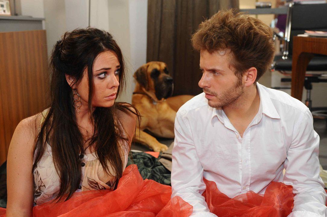 Enrique (Jacob Weigert, r.) und Paloma (Maja Maneiro, l.) erwachen in Toms Büro und haben keine Ahnung, wie sie dorthin gekommen sind. Nach und nac... - Bildquelle: SAT.1