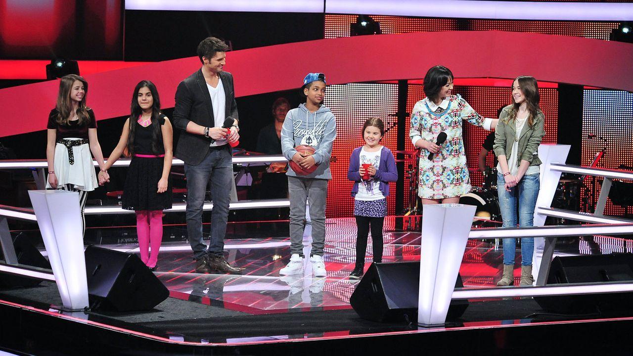 The-Voice-Kids-Stf02-Epi05-Melissa-Danyiom-Chiara-Larissa-Hanna-2-SAT1-Andre-Kowalski - Bildquelle: SAT.1/Andre Kowalski